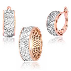 Комплект из серебра серьги с кольцом с позолотой прямоугольной формы с бриллиантовыми фианитами Брюликс