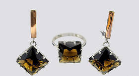 Серебряный набор Паулина с золотыми накладками 375 пробы