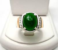 Серебряное охранное кольцо 925 пробы с золотыми накладками