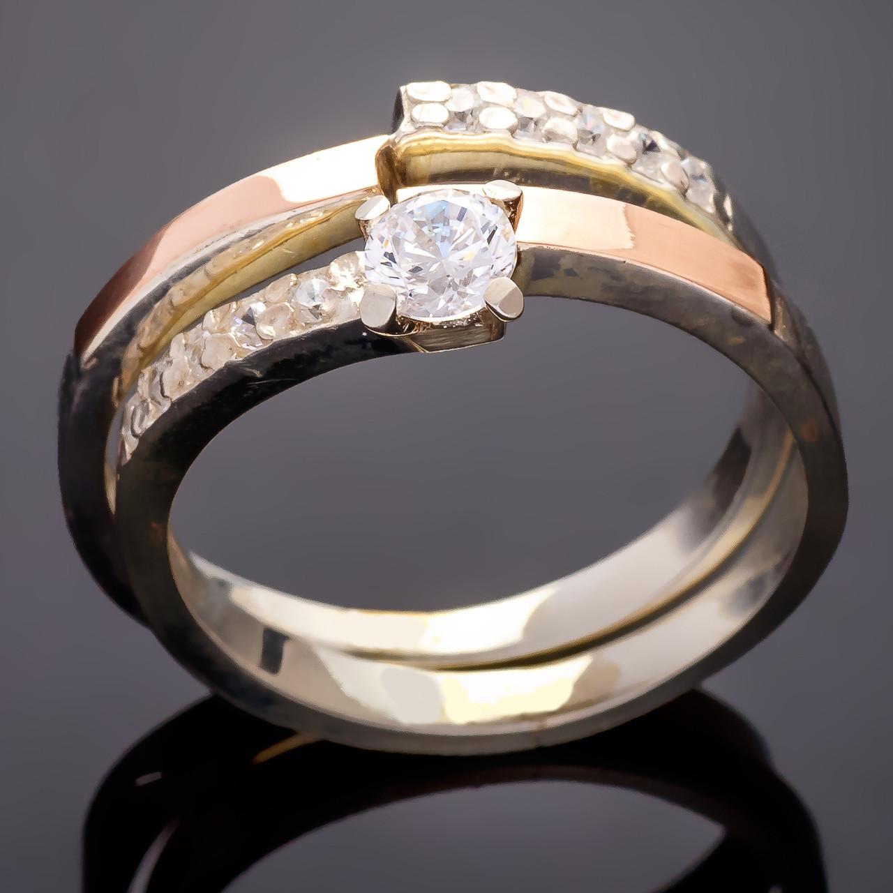Серебряные кольца с золотыми вставками Дуэт