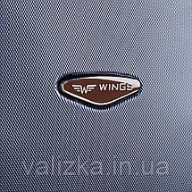 Большой чемодан из поликарбоната Wings с кофейной фурнитурой на 4-х колесах серебряный, фото 2