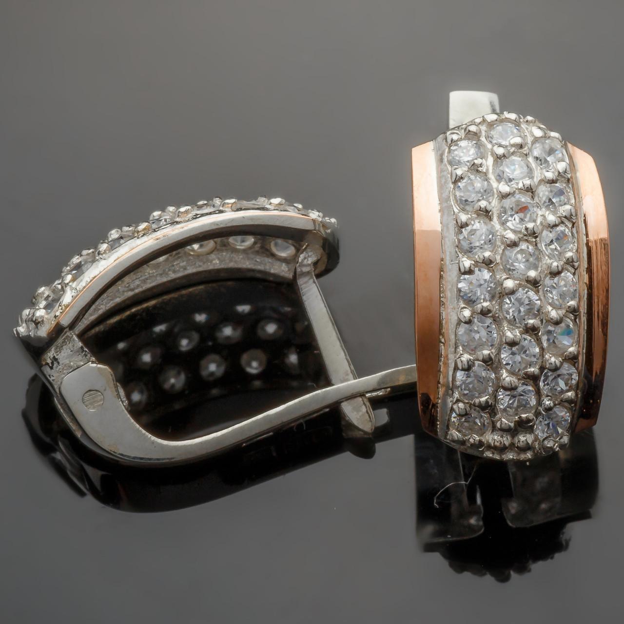 Серебряные серьги с золотыми вставками Элит