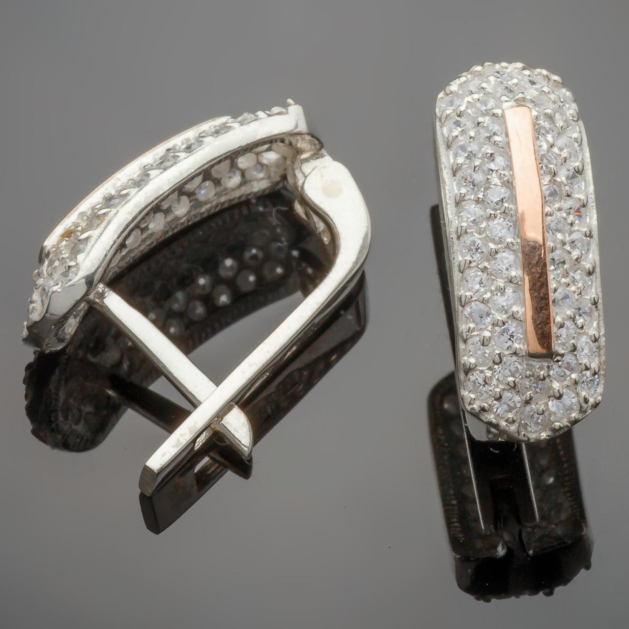 Серьги серебряные с золотыми вставками  Сандра