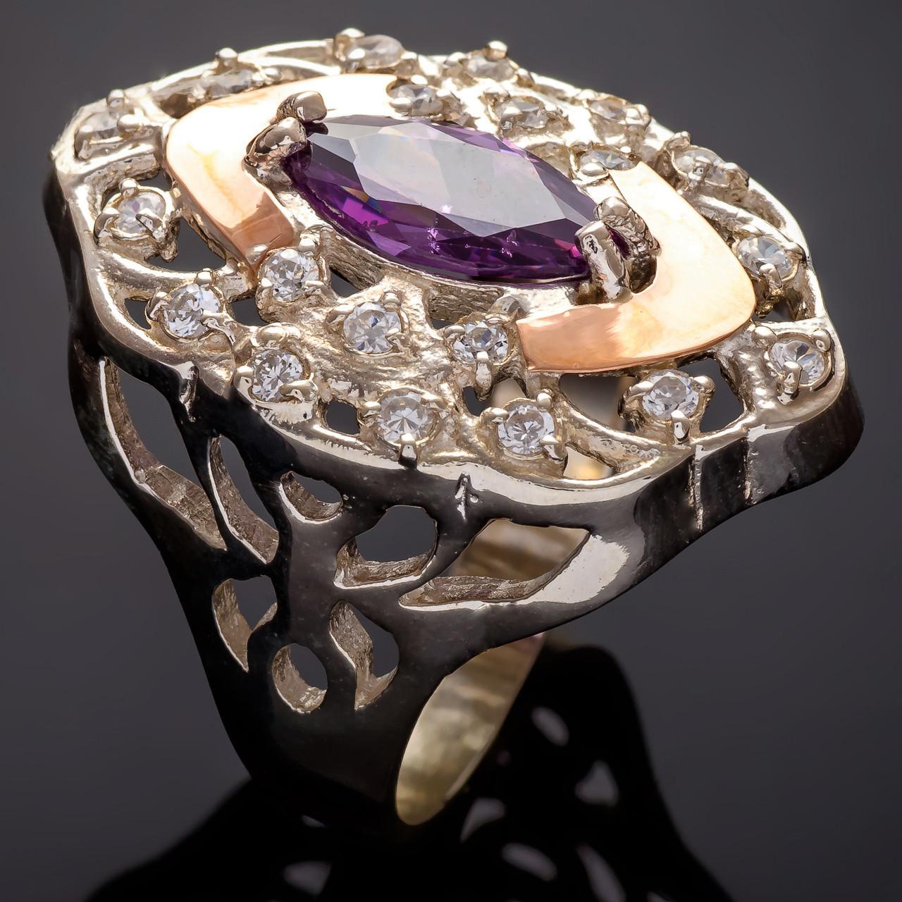 Серебряное кольцо с золотыми вставками Роксолана