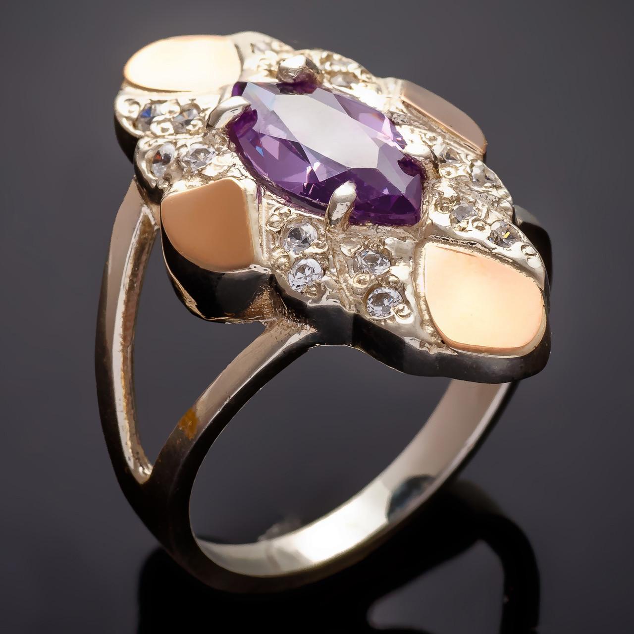 Серебряное кольцо с золотыми вставками Маркиз