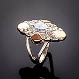 Серебряное кольцо с золотыми вставками Маркиз, фото 2