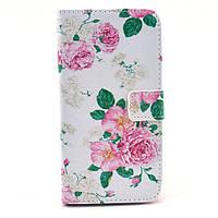 Чехол книжка для Samsung Galaxy Grand 2 Duos G7102, G7100, G7105 боковой с отсеком, Элегантные розы