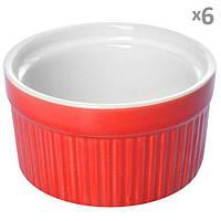 Кокотница для запекания Pear 10267 керамика, красная, в наборе 6шт, 9*9*5см, керамическая посуда