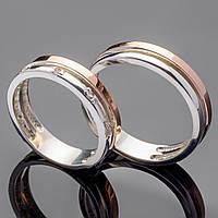 Обручальное кольцо из серебра 925 пробы с золотом арт. 9, 10