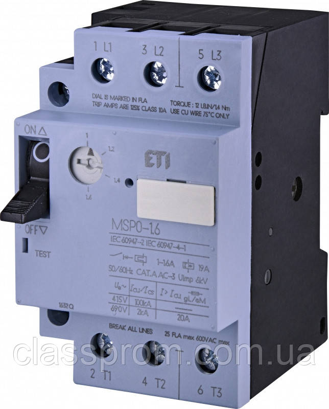 Автомат защиты двигателя ETI MSP0-1,6 (0,37-0,55 kW, 1.0-1.6A) 4646620