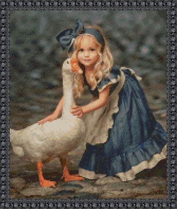 Б-2506 Девочка с гусем. Схема для вышивки бисером