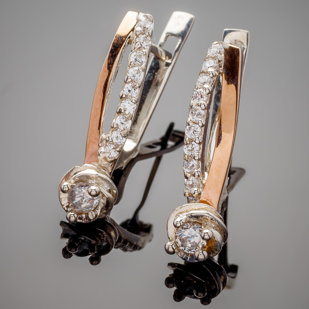 Серьги серебряные с золотыми вставками  Роза