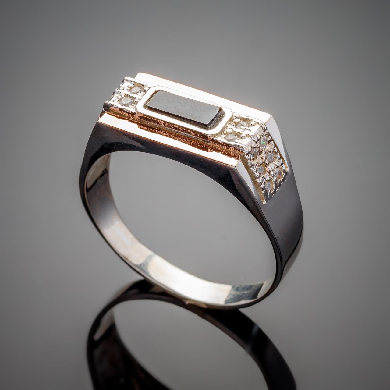 Серебряное кольцо  с золотыми вставками Роман с черным оником и фианитами