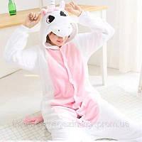 Пижама одежда для дома Кигуруми Единорог бело розовый