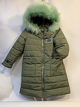 Пальто зимнее для девочки р. 6-10 лет зеленое
