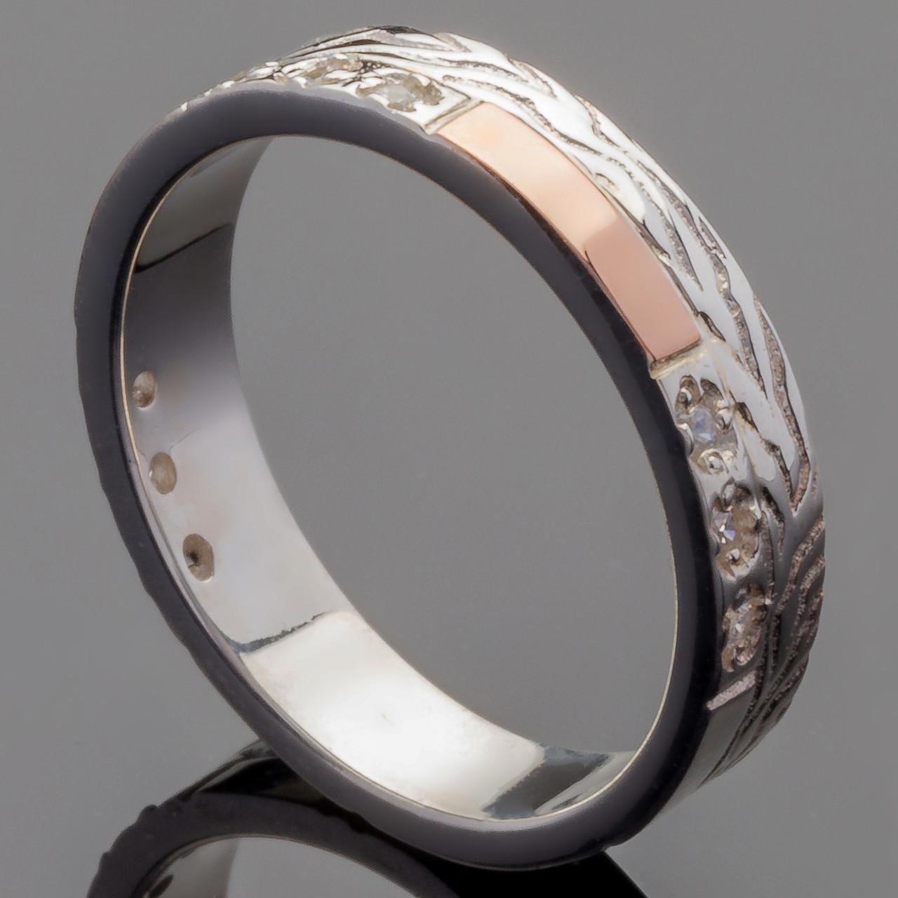 Обручальное кольцо из серебра 925 пробы с золотом арт. 2