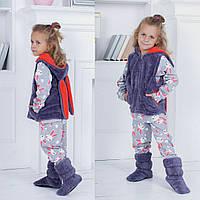 Модный домашний детский костюм с пижамкой: пижамка с сапожками и жилеткой с ушками на капюшоне. Арт-4848, фото 1