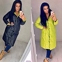 Куртка женская длинная двусторонняя из плащевки на силиконе с кнопками (К29420)