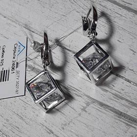 Серебряные серьги с кубами и фианитами