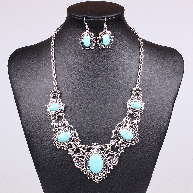 Набор Ажурный Бирюза серьги ожерелье (MN101430)