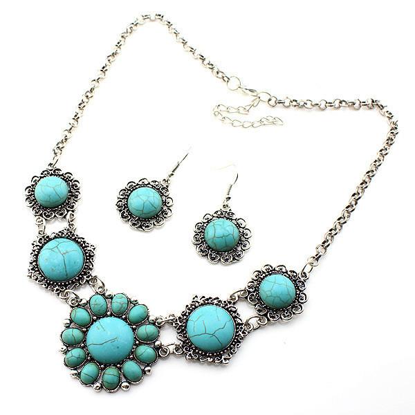 Набор Ажурный Круглый Бирюза серьги ожерелье (MN1061)
