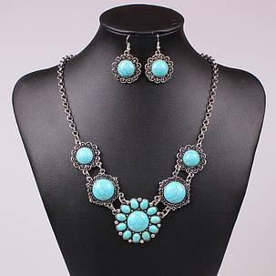 Набор Ажурный Круглый Бирюза серьги ожерелье (MN1061), фото 2