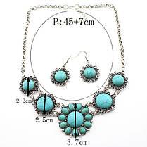 Набор Ажурный Круглый Бирюза серьги ожерелье (MN1061), фото 3
