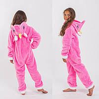 Модная домашняя детская стильная цельная махровая пижамка Кингуруми единорог. Арт-4851, фото 1