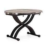 Стол обеденный TMT-33 бетон + черный 105*(67-105)*(27,5-74) Vetro