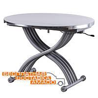 Стол обеденный TMT-33 экстра белый + серебряный 105*(67-105)*(27,5-74)   Vetro, фото 1
