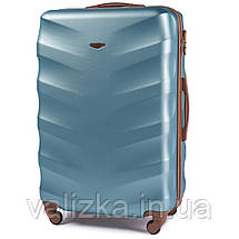 Комплект чемоданов пластиковых 4 штуки мини, малый, средний, большой Wings с кофейной фурнитурой голубой, фото 2