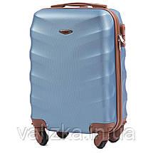 Комплект чемоданов пластиковых 4 штуки мини, малый, средний, большой Wings с кофейной фурнитурой голубой, фото 3