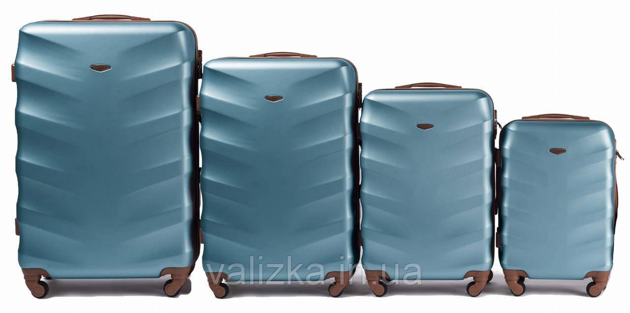 Комплект чемоданов пластиковых 4 штуки мини, малый, средний, большой Wings с кофейной фурнитурой голубой