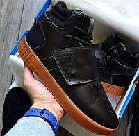 Мужские кроссовки Adidas Tubular Invader Strap (черные)