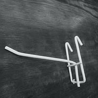 Крючок белый на сетку металлопластик 10см