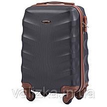 Комплект чемоданов пластиковых 4 штуки мини, малый, средний, большой Wings с кофейной фурнитурой графит, фото 3