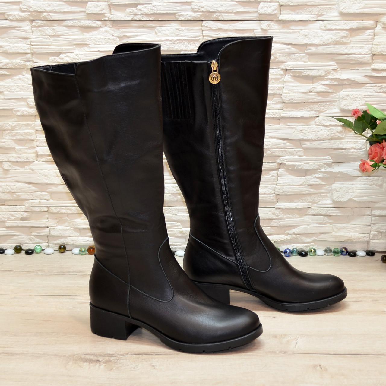 Женские классические кожаные сапоги на невысоком каблуке. Батал!