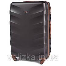 Комплект чемоданов пластиковых 4 штуки мини, малый, средний, большой Wings с кофейной фурнитурой графит, фото 2