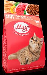 Корм Мяу повнорацiонний смачне м'ясце для дорослих котів 900 г