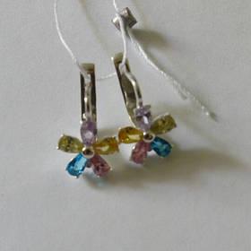 Серьги серебряные, цветные фианиты