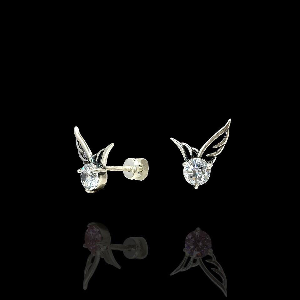 Пуссеты серебряные с фианитами, прозрачные, лаванда