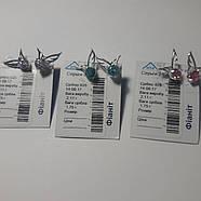 Пуссеты серебряные с фианитами, прозрачные, лаванда, фото 6