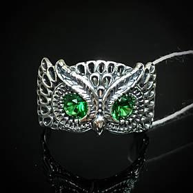 """Серебряное кольцо """"Сова"""" со вставками из фианита, р 19.5"""