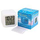 Настольные часы хамелеон Куб Color change с термометром, фото 2