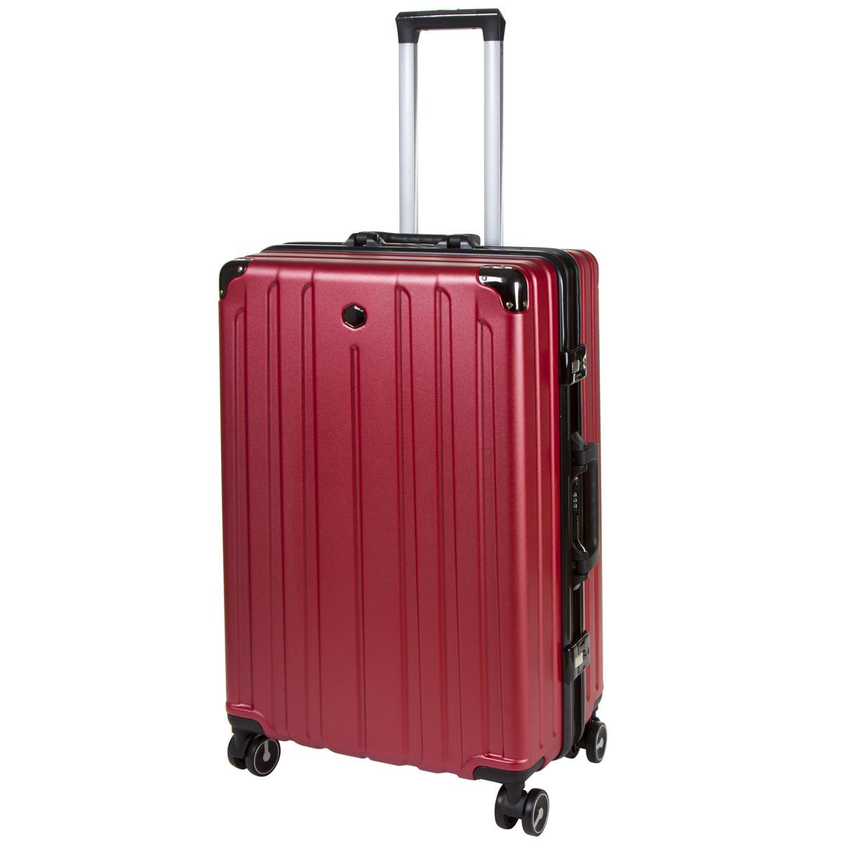 Чемодан большой бордовый OUPAI 46х72х29 пластик ABS алюминиевый каркас  кс1106-1борб
