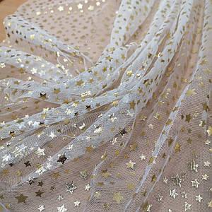 Ткань сетка золотистые звезды на белом