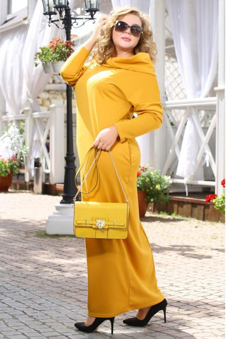 Платье длинное трикотажное желтое для полных