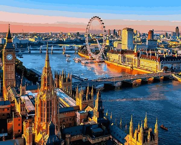 Картина по номерам 40х50см Babylon Turbo Лондон. Вид на Темзу