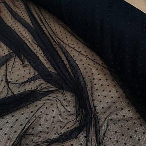 Ткань сетка стрейч горох темно-синяя