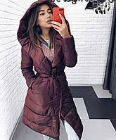 Женское зимнее теплое удлиненное пальто на силиконе чёрный бордо графит 42 44 46